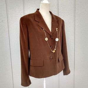 Charter Club Brown Silk Career Jacket Blazer Lined